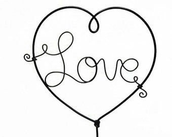 Love Heart Wire Wedding Cake Topper Black, Silver or Gold