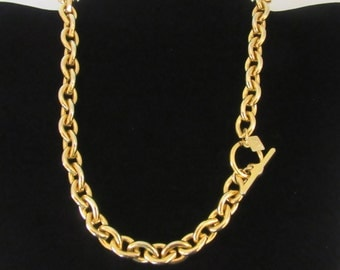 """Anne Klein 17"""" classic goldtone heavy link choker necklace with toggle clasp -   Free U.S.Shipping"""