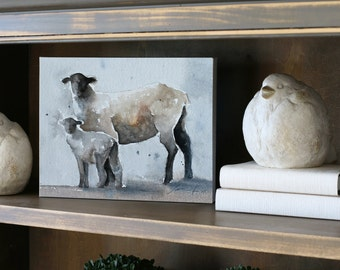 for her girls nursery art large wall decor large art for nursery baby girl animal Sheep painting easter sheep painting watercolor CANVAS
