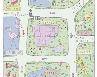 Square Zoo Map Giclee Print