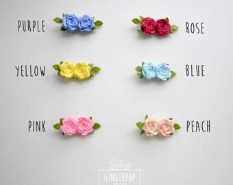 Felt Rose Clip - Choose Your Fave Rose Clip - Felt flower alligator clip - Baby, Toddler, Girl Alligator Clip and Photo Prop - Flower Clip