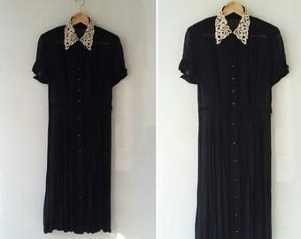 1930s dress | Late 1930s dress | vintage navy dress | 30s navy dress with lace and rhinestone collar | medium | Moonlight Dreams Dress