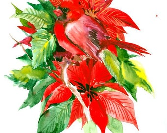 Red Cardinal and Poinsettia 16 x 12 in original watercolor painting, red green christmas art colors, cardinal bird