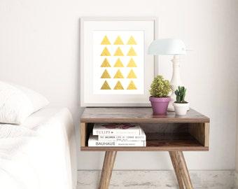 "INSTANT DOWNLOAD 8X10"" Printable Digital art file - Triangle Geometric Wall Art - Faux gold effect - Gallery Wall - Nursery - Gift - SKU:382"