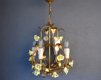 Beautiful golden tole Flower Chandelier with porselain roses.