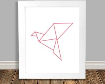 Bird Art Print, Geometric Art, Origami Crane, Pink Nursery Art, Animal Nursery Art, Printable, Wall Art, Downloadable Poster - 8x10, 11x14