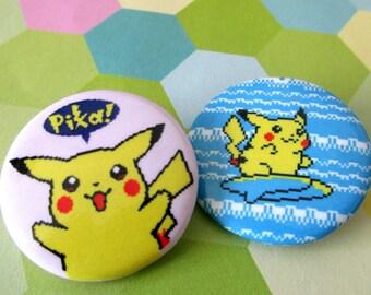 Pokemon Yellow Pikachu Pinback Buttons - Set of 2