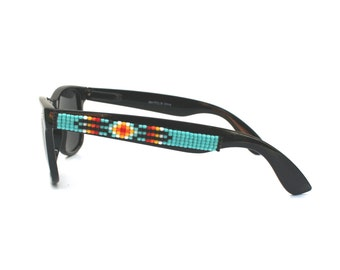 Polarized Sunglasses, Beaded Sunglasses, Turquoise Navajo-Inspired Sunglasses, Ray Ban style, Wayfarer, Unique Gift, Summer Accessories