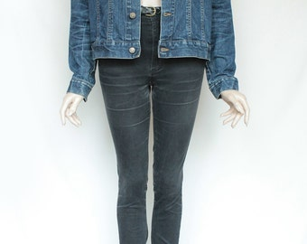 80s Vintage Dark Blue Jean Denim Jacket for Men or Women