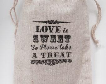 Love Is Sweet Take A Treat Muslin Wedding Favor Bags, Set of 10 (4x6 shown)