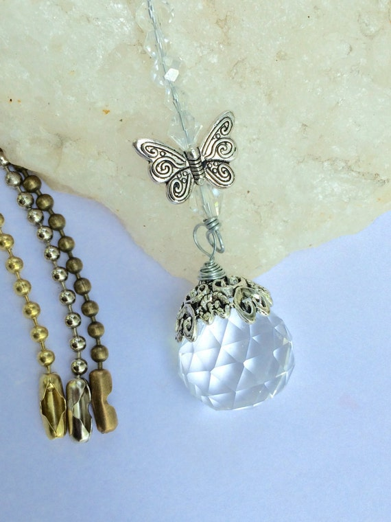 Butterfly light pull crystal ceiling fan pull by ...