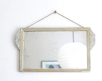 Antique french ART DECO wall mirror, wooden frame - 1920s