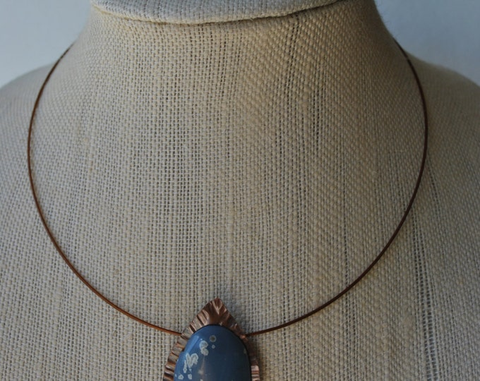 Leland Blue stone and copper Pendant necklace, rustic, blue necklace, metal necklace