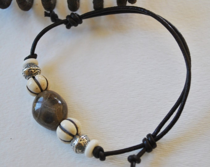 Petoskey Stone Bracelet on leather with sterling silver beads, carved bone beads, Up North, bracelet, Michigan