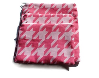 Reusable Zipper Snack Sandwich Bags set of 3 Pink Houndstooth Cotton Twill