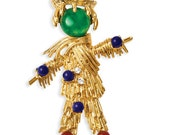 RESERVED/SOLD for HARLEY / Jackie Kennedy Scarecrow Pin - Gold Plated with Gemstones