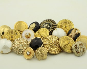 Vintage brass gold buttons, fancy, ornate, mixed lot of old buttons