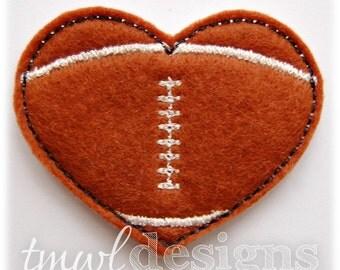 "Football Heart Feltie Digital Design File - 1.75"""