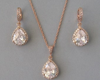 Cubic Zircon, Rose Gold Plated, Rose Gold Filled Chain, Necklace, Earrings, Set, Bridal Set, Drop Set, Gold Filled, Bridesmaid Gift - DK240