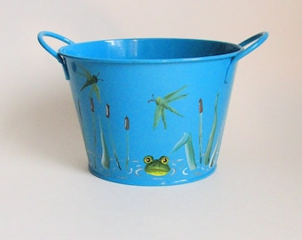 Painted Tin Bucket - 4 Inch Blue Tin Pail - Green Frog in Swamp -  Metal Frog Pail - Dragonflies and Cattails Decor