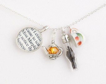 Agatha Christie Tea Necklace - Miss Marple - Literary Jewelry - Agatha Christie Book Necklace - Books and Tea Jewelry