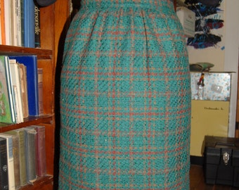 Green Plaid wool skirt