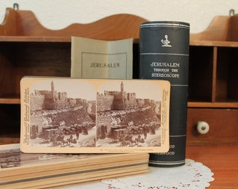Jerusalem Through the Stereoscope, 1908, Complete set of 27 antique stereocards by Underwood & Underwood
