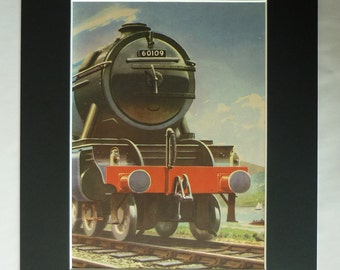 1950s Vintage Print of a Blue LNER Class A1/A3 Steam Engine 60109 Hermit, Available Framed, Train Art, Old Locomotive Decor, Railway Gift