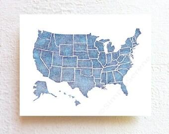 US map art United States map, indigo blue wall art print, USA map tie dye shibori blue, nursery kids teens room inspirational map decor