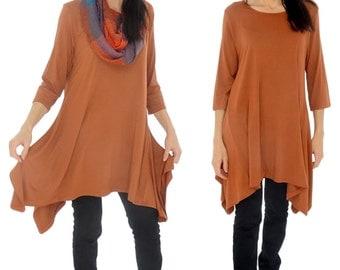 GY600 tunic layered look asymmetrical 3/4 arm Gr. 38-44 rust-Orange