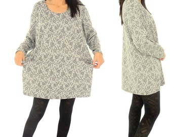 GX400W ladies tunic Jersey handmade Gr. S-XXXXL black/white