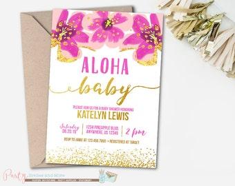 aloha baby shower invitation luau baby shower invitation pineapple invitation luau invitation