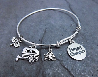 Camping Gift - Happy Camper Bracelet - Expandable Bangle - Charm Bracelet - Stainless Steel  Braided / Twisted - Laser Engraved - Jewelry