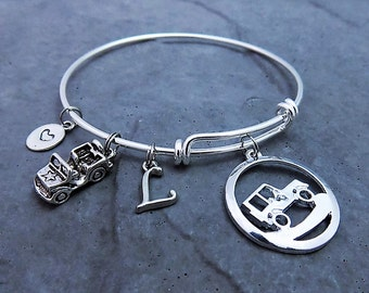 Jeep Charm Bracelet - Jeep Jewelry - Expandable Bracelet - Personalized Bracelet - Monogram Bracelet - Choose Style Stainless Steel Options