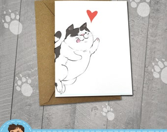 Happy Black and White Cat, I love You Card, Note Cards, 5x7 Kraft Envelope, Recycled, Blank Kraft Greeting Card, Great for any use, Kitty