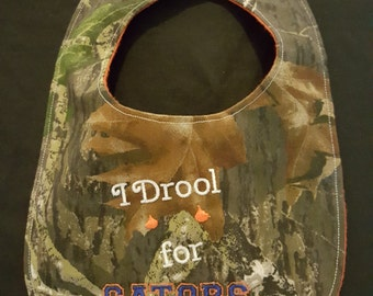 I Drool For Gators Camouflage Baby Bib