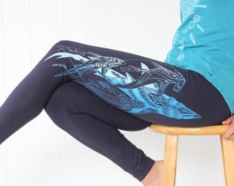 Divine Shark leggings -  ghost/dark blue print on 4 colors. Bohemian leggings. Marine biology leggings. Boho. Nautical Yoga Leggings.