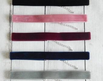 Velvet Choker, Plain  Velvet Choker,  Simple Velvet Choker, Black, Dusky Pink, Violet, Navy Blue, Silver Grey, 16mm Choker Necklace,