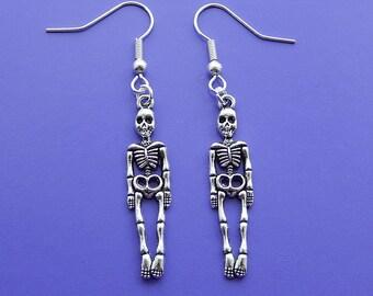 Skeleton Earrings, Silver Skeleton Dangle Earrings,  Drop Earrings, Skeleton Charms, Skeleton Jewelry,  Pierced Ears, Silver Earrings