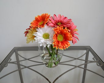 Mother's Day Gerbera Daisy Flower Arrangement, Silk Flowers, Glass Vase, Acrylic Water, Spring & Summer Flowers, Colorful Flowers, Gifts