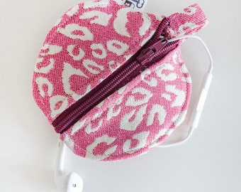 Headphones Case, Change Purse, Pink Cheetah Print, Animal Print, Zipper Case, Pink, Earphone Case, Headphone Pouch