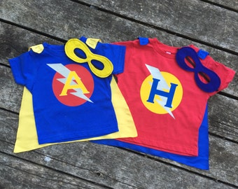 Boys Personalized Superhero T-Shirt with Cape and Mask Custom Birthday or Party Super Hero Shirt with Lightening Bolt and Initial