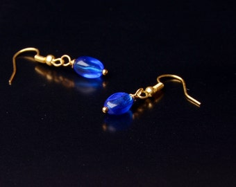 simple blue earrings everyday dangle earrings gifts for girlfriend small earrings bridal earrings everyday jewelry
