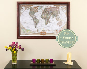 Executive World Travel Map with Pins and Frame - Push Pin Travel Map - Wall Decor - Framed Map of the World - Gifts for Him - Gifts for Her