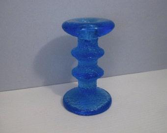 Midcentury Rare Iittala Festivo Cobalt Blue 2 Ring Candle Holder Timo Sarpaneva