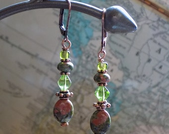Unakite, Copper, and Glass Earrings