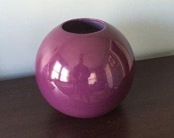 Vintage Mod Purple Ceramic Orb Planter Pot by Vanguard Accents 80s Design