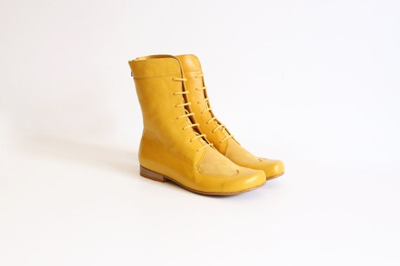 Brilliant Details About Womens Yellow Military Combat Zipper Boots Shoes 685