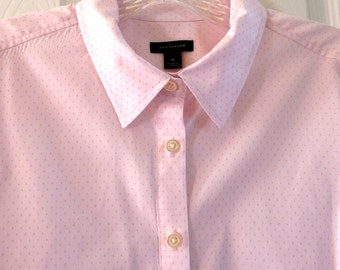 ANN TAYLOR Cotton Blouse Light Pink Size 10, Pink Cotton Collared Shirt Long Sleeves, Long Sleeved Cotton Shirt