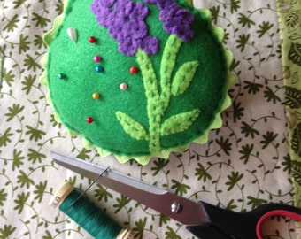 Pincushion Larkspur Flower Applique on Green Felt